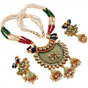 Lucky Jewellery Meenakari Red Green And Mint color Elephant Design Gold Plated Jewelry Fancy Partywear Multi Strand Pearl Kundan Stone Necklace Set With Matching Jhumki Earring For Girls & Women (1178-A4SM2-HATHI-M2-RED-G)