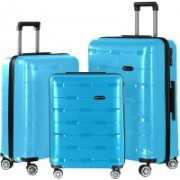 Nasher Miles Santorini PP Hard-Sided Luggage Set Of 3 Trolley/Travel/Tourist Bags (55, 65 & 75 Cm) Aqua Blue Check-in Luggage - 28 inch(Blue)