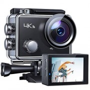 """APEMAN Action Camera 4K WiFi 16MP Waterproof Underwater Camera Ultra Full HD Sport Cam 30M Diving with 2"""" LCD 170 Wide-Angle, 2.4G Remote Control, 2 Rechargeable Batteries, 20 Accessories Kits"""