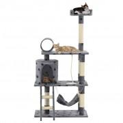vidaXL szürke, mancsmintás macskabútor szizál kaparófákkal 140 cm