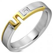 Arany ezüst színű cirkónia kristályos nemesacél gyűrű ékszer