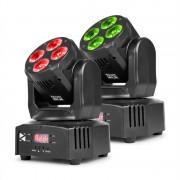 Beamz MHL36 комплект подвижна глава 2 LED прожектора 4x9W 4-в-1 LED RGBW 4 шоута черен (150.532)