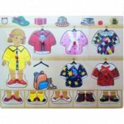 Puzzle de lemn cu haine Baby Mix
