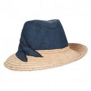 MAYSER cappello assimetrico per donna in combinazione tessuto paglia
