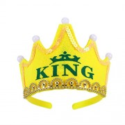 LUOEM LED Light Birthday Party Hats Crown King Princess Birthday Party Caps for Kids (King) - High Quality and Yellow Color