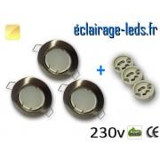 Kit Spots LED GU10 Blanc chaud encastrable fixe chrome perçage 60mm ref kgu10-01