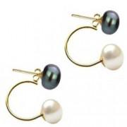 Cercei Double de Aur de 14k cu Perle Naturale Negre si Albe