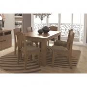 Jogo de Mesa para Sala de Jantar com 6 Cadeiras TM22 Rústico Chenile Marrom - Dalla Costa