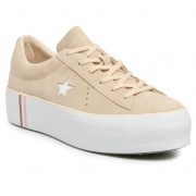Сникърси CONVERSE - One Star Platform Ox 565377C Light Bisque/White/White