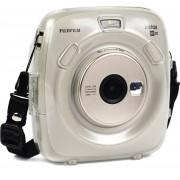 Fujifilm Instax Square SQ20 case - transparante beschermhoes - beschermende cover - Crystal Shell Case - inclusief schouderband