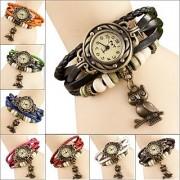 Vintage Round Dial Multicolor Metal Strap Women Quartz Watch
