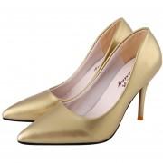 Zapatos De Tacón Alto Pointed Toe Ladies Thin High Heel Shoes-Dorado
