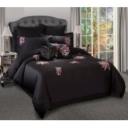 Antonia Black Applique Quilt Cover Set Queen by Georges Fine Linens
