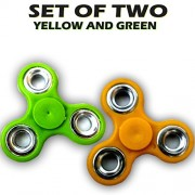Fidget Spinner - Anti Anxiety Fidget Spinner Helps Focusing Fidget Toys [3D Figit] Premium Quality EDC Focus Toy for Kids & Adults - Best Stress Reducer Relieves Anxiety and Boredom Ceramic Cube Bearing - GREEN & YELLOW By ART N SOUL