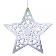 Geen Hangdecoratie kerstster zilver 50 cm