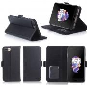 Oneplus 5 Housse Portefeuille Luxe Noire Cuir Style Avec Stand - Etui Noir Coque De Protection One Plus 5 Dual Sim Avec Porte Cartes - Accessoires Pochette Xeptio : Exceptional Case !