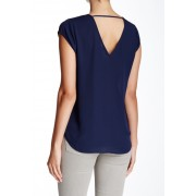 DR2 by Daniel Rainn V-Neck Woven Blouse NAVY