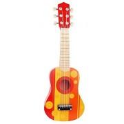 Pidoko Kids Wooden Ukulele Toy Guitar Instrument, Red & Orange