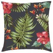 Own Brand Tropical Floral Cushion - Black - Textured Linen - Black