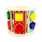 Kiddy Shape Sorter | 12 Holes Non-toxic Rolling Wooden Geometric Block Baby Toddler Preschool Educational Toys Color Recognition Match and Stack Puzzle | Premium Basswood | 1263.1