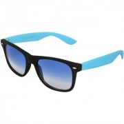 Silver Kartz Beach Sky Blue Wayfarer Rectangular Sunglasses (Blue)
