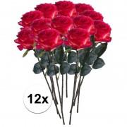 Bellatio flowers & plants 12x Rood/gele rozen Simone kunstbloemen 45 cm