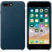 Apple iPhone Leather Case - оригинален кожен кейс (естествена кожа) за iPhone 8 Plus, iPhone 7 Plus (космическо синьо)
