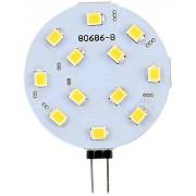 Led G4 körégő, 12 SMD led, 5050 chip, 2,4W, 160-180 Lumen, d=27,5 mm, 2700 kelvin ?az igazi meleg fény!? Nem vibrál a fénye! Life Light Led 3 év garancia!
