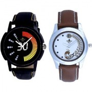 Round Dial Black Yellow And Brown Peacock Couple Analogue Watch By Vivah Mart