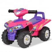 vidaXL Dječji četverokotač sa zvučnim i svjetlosnim efektima ružičasto-ljubičasti
