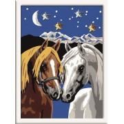 Раскрашивание по номерам «Две лошадки»