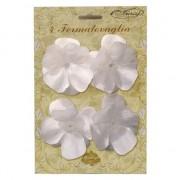 Merkloos Tafeldecoratie tafelkleed klemmen met witte bloemen 4 stuks