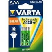 VARTA Lot de 2 piles rechargeables ACCU AAA 550mAh Longlife Solar
