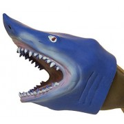Soft Rubber Realistic 6 Inch Great White Shark Hand Puppet (Blue/White)