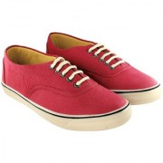 Blinder Mens Red fabric Lace-Up Derby Casual Sneakers Shoes