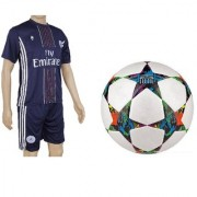 Combo of Multistar UEFA Champions League Football (Size-5)with Suit (Jersey + Shorts)