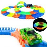 Finger Rock Official Store Railway Magical Luminous Racing Flexible Track Play Set WJYZQLBGDC014, Multi