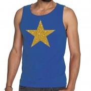 Bellatio Decorations Gouden ster fun tanktop / mouwloos shirt blauw voor heren L - Feestshirts
