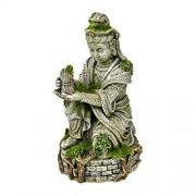 Blue Ribbon Estatua de Ambiente exótico con Musgo, Antiguo Buda, Blanco