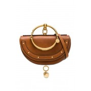 Chloe Small Nile Leather Minaudiere in Brown.
