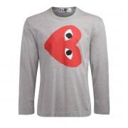 Comme des Garçons Play T-Shirt Comme Des Garçons PLAY manica lunga in cotone grigio con cuore rovescio