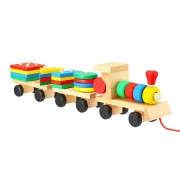 Train Truck Wooden Geometric Blocks Toys Kids Developmental Baby Educational Track Toys