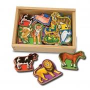 Melissa Doug animale din lemn cu magneti