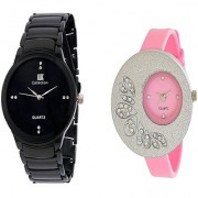 IIK Collection Black Men And Glory Big Pink Dial PU Analog Couple Analog Watches For Men And Women