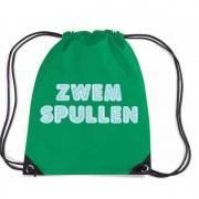 Bellatio Decorations Zwemspullen rugzakje / zwemtas met rijgkoord groen
