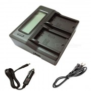 Ismartdigi LPE5 LCD cargador de bateria de doble ranura para Canon LP-E5 - negro