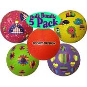 Sport Design 8.5 Inch Playground Balls Assortment Includes Red, Princess, Hearts, Flowers & Animals Bulk Set Bundle - 5 Pack