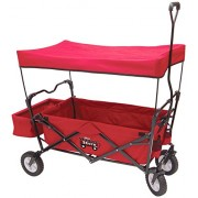 WagonWorld Folding Red Wagon With Canopy