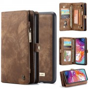 CASEME 008 Series for Samsung Galaxy A70 2-in-1 TPU Multi-slot Wallet Vintage Split Leather Case - Brown
