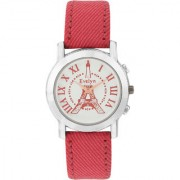 Evelyn Eiffel Tower Analogue White Dial Red Strap Girls Watches-Eve-573
